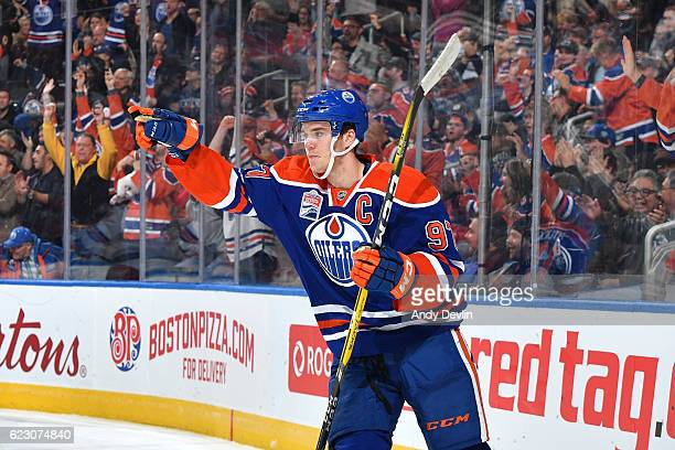 Connor McDavid of the Edmonton Oilers celebrates after a goal during the game against the New York Rangers on November 13 2016 at Rogers Place in...