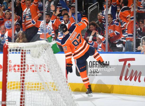 Connor McDavid of the Edmonton Oilers celebrates after a goal during the game against the Calgary Flames on October 4 2017 at Rogers Place in...