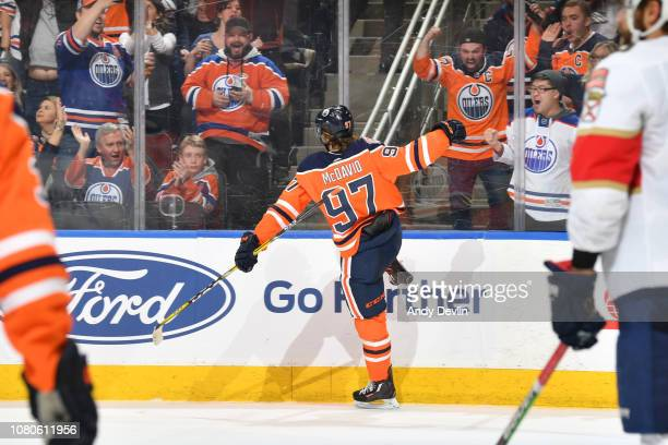 Connor McDavid of the Edmonton Oilers celebrates after scoring a goal during the game against the Florida Panthers on January 10, 2019 at Rogers...