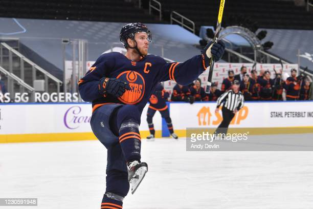 Connor McDavid of the Edmonton Oilers celebrates after scoring a goal during the game against the Vancouver Canucks on January 14, 2021 at Rogers...