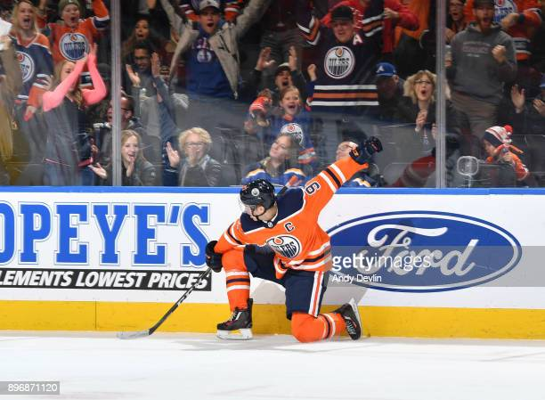 Connor McDavid of the Edmonton Oilers celebrates after scoring a goal during the game against the St Louis Blues on December 21 2017 at Rogers Place...