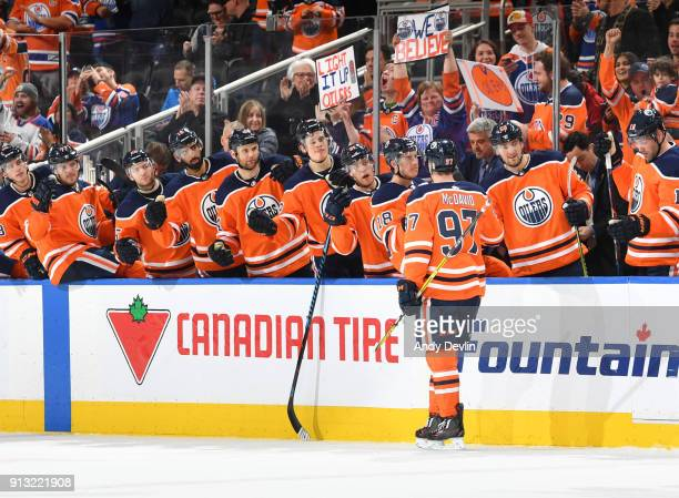 Connor McDavid of the Edmonton Oilers celebrates after scoring a goal during the game against the Colorado Avalanche on February 1 2018 at Rogers...