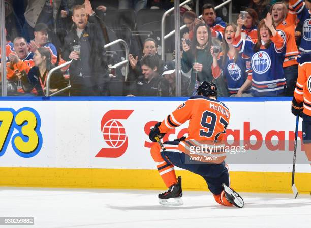 Connor McDavid of the Edmonton Oilers celebrates after scoring a goal during the game against the Minnesota Wild on March 10 2018 at Rogers Place in...