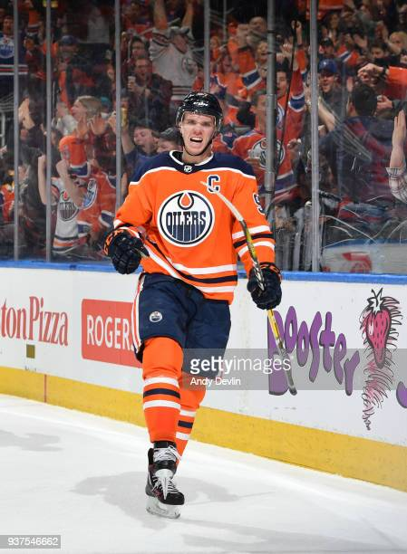 Connor McDavid of the Edmonton Oilers celebrates after scoring a goal during the game against the Los Angeles Kings on March 24 2018 at Rogers Place...