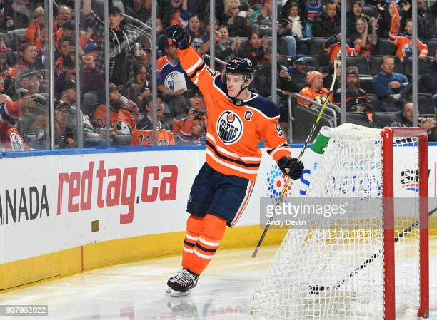 Connor McDavid of the Edmonton Oilers celebrates after scoring a goal during the game against the Anaheim Ducks on March 25 2018 at Rogers Place in...