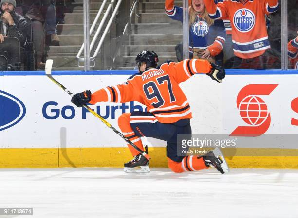 Connor McDavid of the Edmonton Oilers celebrates after scoring his third goal of the game against the Tampa Bay Lightning on February 5 2018 at...
