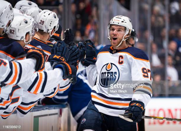 Connor McDavid of the Edmonton Oilers celebrates his goal against the Toronto Maple Leafs during the third period at the Scotiabank Arena on January...