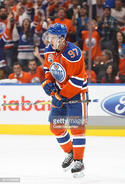 Connor McDavid of the Edmonton Oilers celebrates his goal against the Calgary Flames on October 12 2016 at Rogers Place in Edmonton Alberta Canada