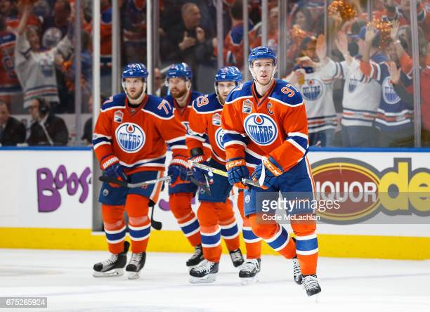 Connor McDavid of the Edmonton Oilers celebrates his goal against the Anaheim Ducks in Game Three of the Western Conference Second Round during the...