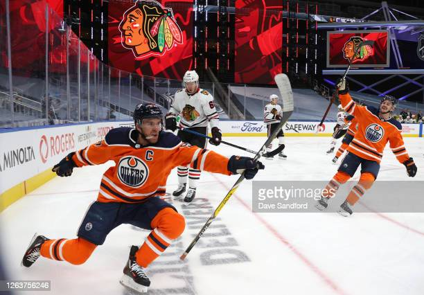 Connor McDavid of the Edmonton Oilers celebrates his second goal of the first period of Game Two of the Western Conference Qualification Round...