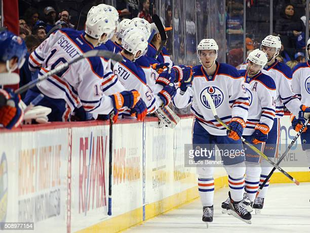 Connor McDavid of the Edmonton Oilers celebrates his second period goal against the New York Islanders at the Barclays Center on February 7 2016 in...