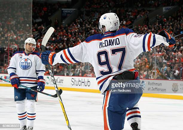 Connor McDavid of the Edmonton Oilers celebrates his second period powerplay goal against the Philadelphia Flyers on December 8 2016 at the Wells...
