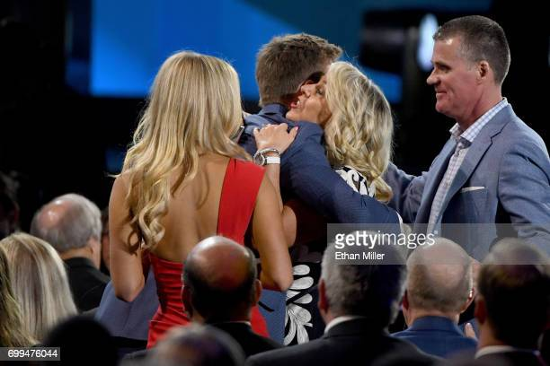 Connor McDavid of the Edmonton Oilers celebrates with his family after winning the Ted Lindsay Award during the 2017 NHL Awards and Expansion Draft...