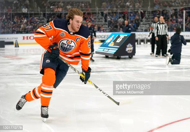 Connor McDavid of the Edmonton Oilers competes in the Bridgestone NHL Fastest Skater event during the 2020 NHL AllStar Skills competition at...