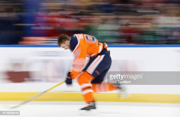 Connor McDavid of the Edmonton Oilers competes in the Enterprise NHL Fastest Skater during 2018 GEICO NHL AllStar Skills Competition at Amalie Arena...