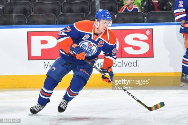 Connor McDavid of the Edmonton Oilers has his stick with Pride Tape skates during warm up before the game against the Arizona Coyotes on You Can Play...