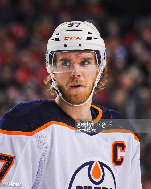 Connor McDavid of the Edmonton Oilers in action against the Calgary Flames during an NHL game at Scotiabank Saddledome on February 1 2020 in Calgary...