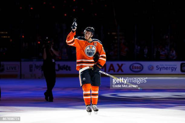 Connor McDavid of the Edmonton Oilers is named first star of the night against the Calgary Flames at Rogers Place on October 4 2017 in Edmonton Canada