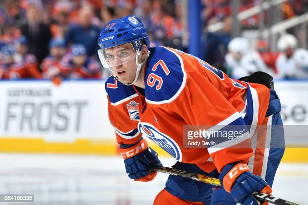 Connor McDavid of the Edmonton Oilers lines up for a face off in Game Five of the Western Conference First Round during the 2017 NHL Stanley Cup...