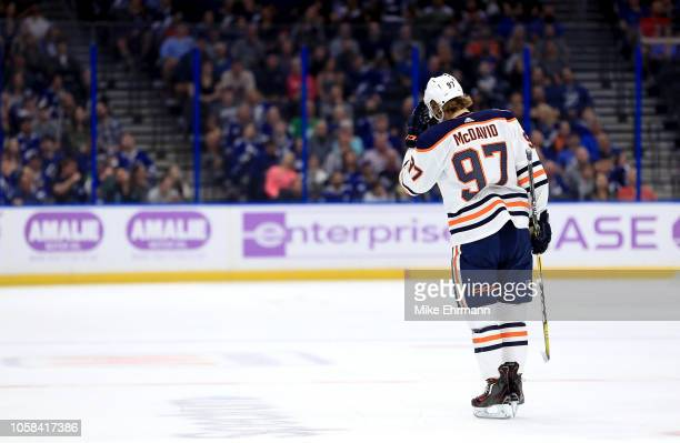 Connor McDavid of the Edmonton Oilers looks on during a game against the Tampa Bay Lightning at Amalie Arena on November 6 2018 in Tampa Florida