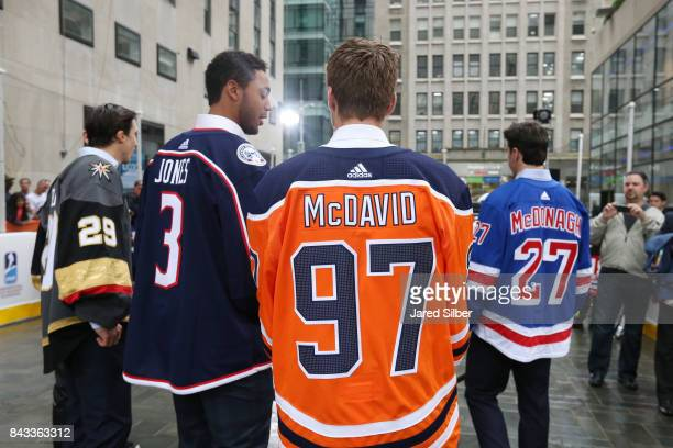Connor McDavid of the Edmonton Oilers looks on during NHL Street Hockey on The Today Show at Rockefeller Center on September 6 2017 in New York City