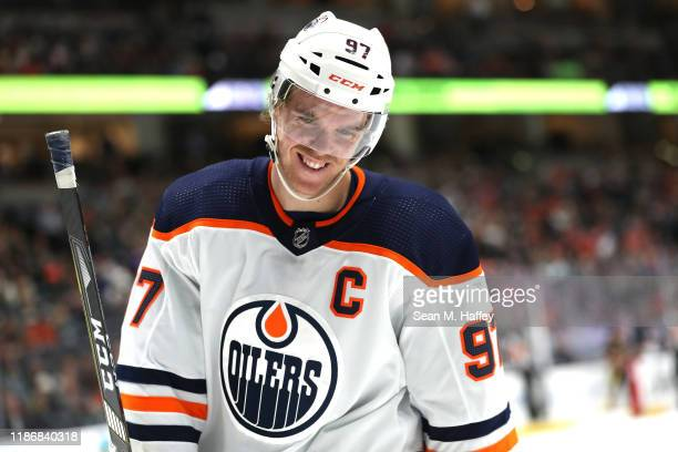 Connor McDavid of the Edmonton Oilers looks on during the second period of a game against the Anaheim Ducks at Honda Center on November 10, 2019 in...