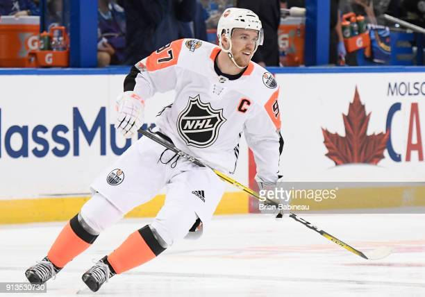 Connor McDavid of the Edmonton Oilers plays in the 2018 Honda NHL AllStar Game between the Atlantic Division and the Pacific Division at Amalie Arena...