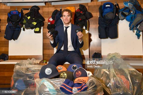 Connor McDavid of the Edmonton Oilers poses following the game against the Colorado Avalanche in which he had 3 goals and 6 points on November 14 at...