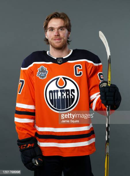 Connor McDavid of the Edmonton Oilers poses for a portrait ahead of the 2020 NHL AllStar Game at Enterprise Center on January 24 2020 in St Louis...
