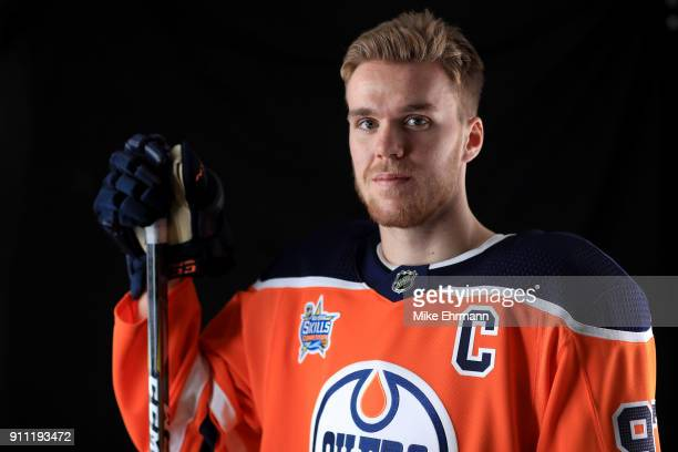 Connor McDavid of the Edmonton Oilers poses for a portrait during the 2018 NHL AllStar at Amalie Arena on January 27 2018 in Tampa Florida
