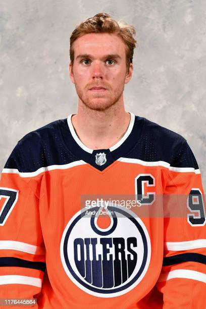 Connor McDavid of the Edmonton Oilers poses for his official headshot for the 2019-2020 season on September 10, 2019 at Rogers Place in Edmonton,...