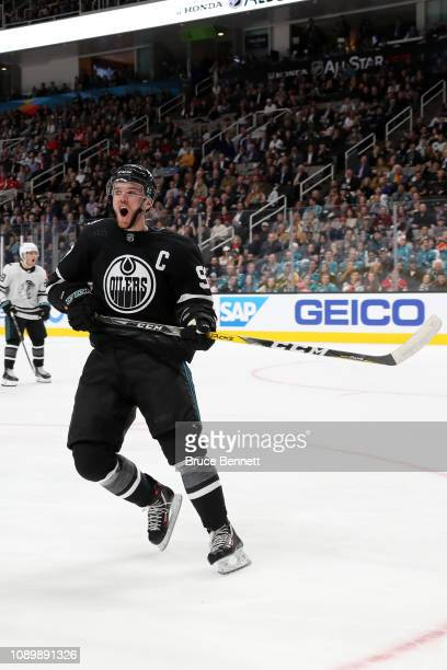 Connor McDavid of the Edmonton Oilers reacts after missing a shot during the 2019 Honda NHL AllStar Game at SAP Center on January 26 2019 in San Jose...