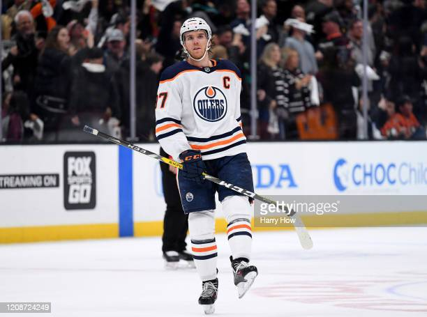 Connor McDavid of the Edmonton Oilers reacts as he comes out of the penalty box after a Sonny Milano of the Anaheim Ducks goal, for a 4-3 overtime...