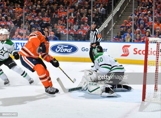 Connor McDavid of the Edmonton Oilers scores a goal on Ben Bishop of the Dallas Stars on October 26 2017 at Rogers Place in Edmonton Alberta Canada