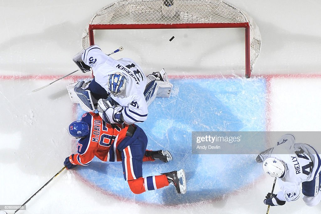 Connor McDavid #97 of the Edmonton Oilers scores a goal on Frederik Andersen #31 of the Toronto Maple Leafs on November 29, 2016 at Rogers Place in Edmonton, Alberta, Canada.