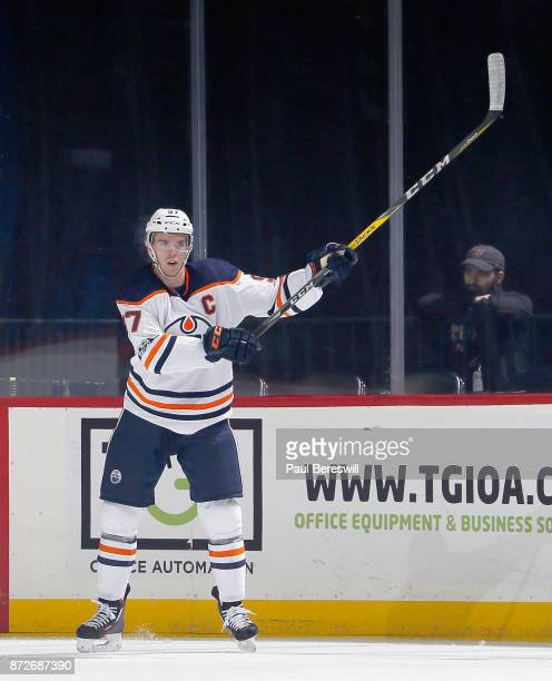 Connor McDavid of the Edmonton Oilers signals for a pass in an NHL hockey game against the New York Islanders at Barclays Center on November 7 2017...