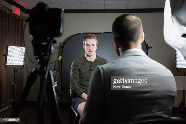 Connor McDavid of the Edmonton Oilers sits for an interview with media during the 2015 NHLPA Rookie Showcase at the Westin Harbour Castle Hotel on...
