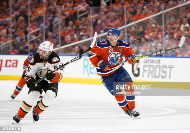 Connor McDavid of the Edmonton Oilers skates against Antoine Vermette of the Anaheim Ducks in Game Three of the Western Conference Second Round...