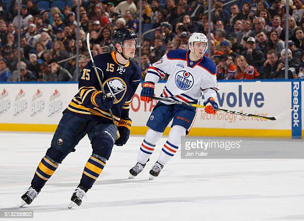 Connor McDavid of the Edmonton Oilers skates against Jack Eichel of the Buffalo Sabres at First Niagara Center on March 1 2016 in Buffalo New York