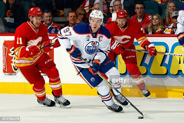 Connor McDavid of the Edmonton Oilers skates against the Calgary Flames during an NHL game on October 14 2016 at the Scotiabank Saddledome in Calgary...