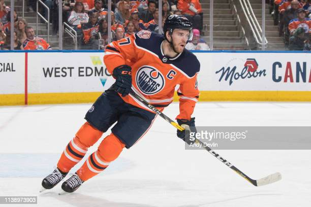 Connor McDavid of the Edmonton Oilers skates against the Dallas Stars on March 28 2019 at Rogers Place in Edmonton Alberta Canada
