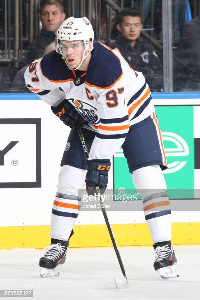 Connor McDavid of the Edmonton Oilers skates against the New York Rangers at Madison Square Garden on November 11 2017 in New York City The New York...