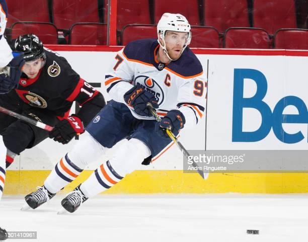 Connor McDavid of the Edmonton Oilers skates against the Ottawa Senators at Canadian Tire Centre on February 9, 2021 in Ottawa, Ontario, Canada.