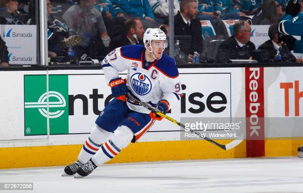 Connor McDavid of the Edmonton Oilers skates against the San Jose Sharks in Game Six of the Western Conference First Round during the 2017 NHL...