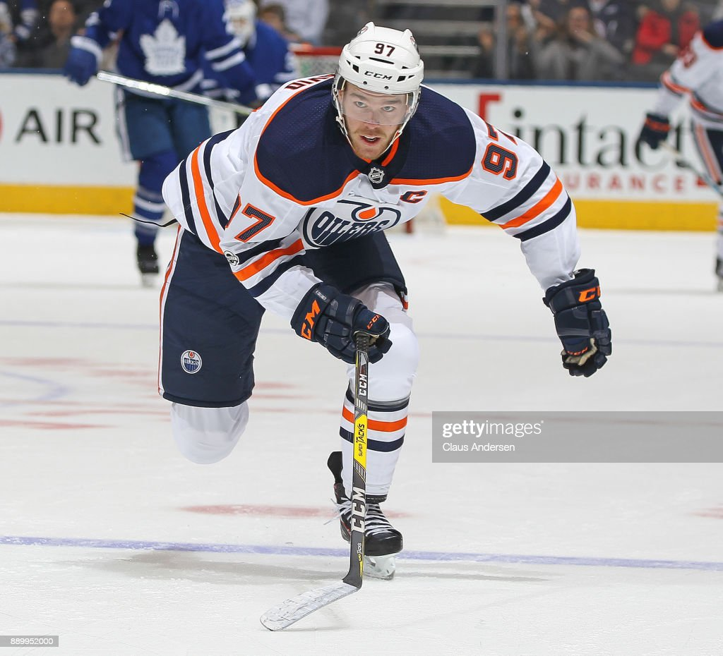 Connor McDavid #97 of the Edmonton Oilers skates against the Toronto Maple Leafs during an NHL game at the Air Canada Centre on December 10, 2017 in Toronto, Ontario, Canada. The Maple Leafs defeated the Oilers 1-0.