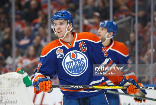 Connor McDavid of the Edmonton Oilers skates against the Vancouver Canucks on April 9 2017 at Rogers Place in Edmonton Alberta Canada
