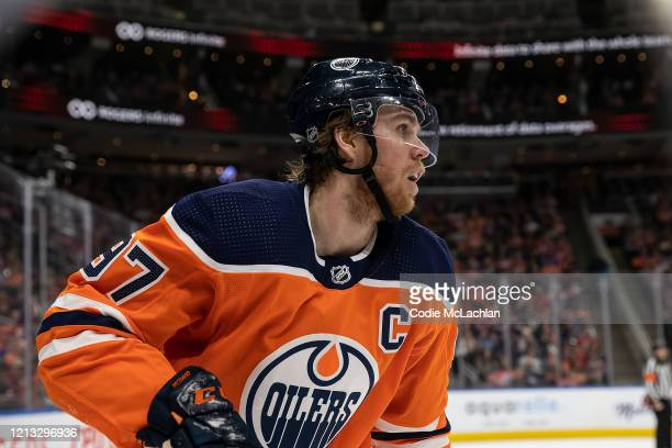 Connor McDavid of the Edmonton Oilers skates against the Winnipeg Jets at Rogers Place on March 11 in Edmonton Canada