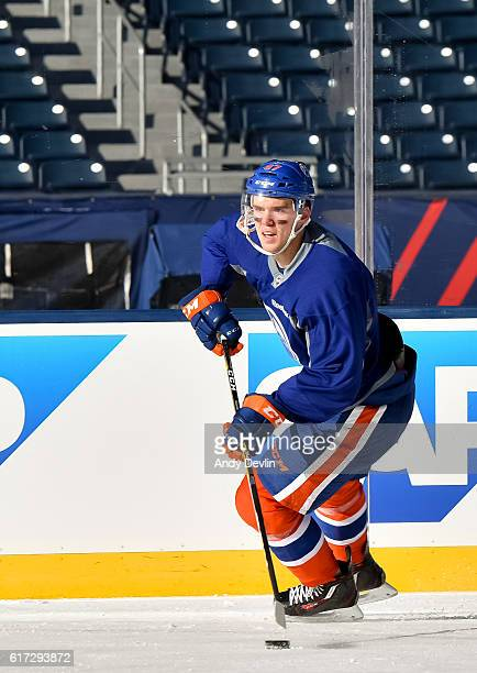 Connor McDavid of the Edmonton Oilers skates during practice in advance of the 2016 Tim Hortons NHL Heritage Classic game at Investors Group Field on...