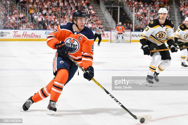 Connor McDavid of the Edmonton Oilers skates during the game against the Boston Bruins on October 18 2018 at Rogers Place in Edmonton Alberta Canada