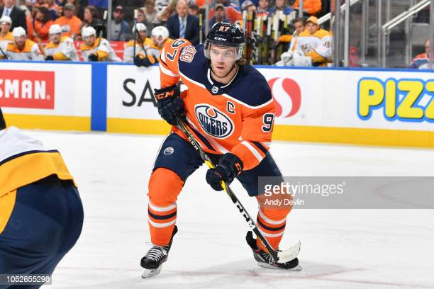 Connor McDavid of the Edmonton Oilers skates during the game against the Nashville Predators on October 20 2018 at Rogers Place in Edmonton Alberta...